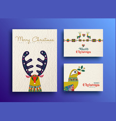 merry christmas folk art holiday card collection vector image