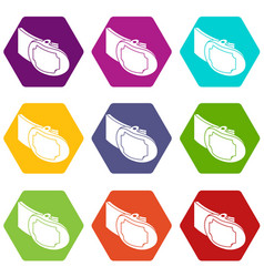 metal belt buckle icons set 9 vector image