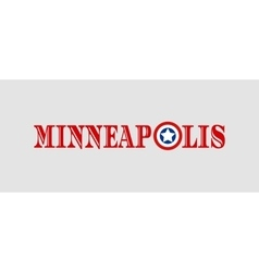 Minneapolis city name with flag colors vector image