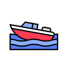 Motorboat summer holiday related filled icon vector