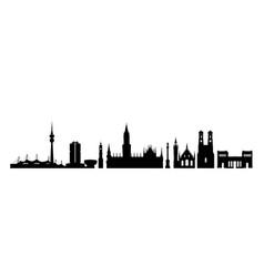 Munich city germany landmark buildings silhouette vector