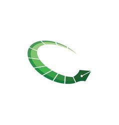 Nib circle time logo ruling pen round write vector