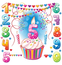 Numbered birthday candles and cake vector