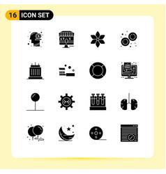 Pack 16 creative solid glyphs landmarks vector