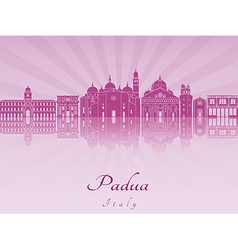 Padua skyline in purple radiant orchid vector