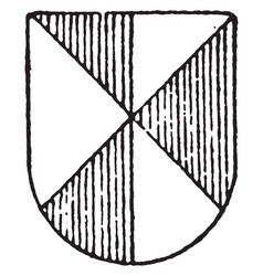 Party per pale and saltire ordinary is in gules vector
