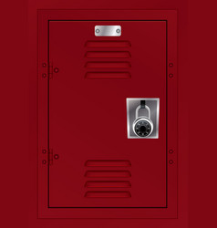 Red locker and combination lock vector