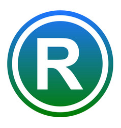 Registered trademark sign white icon in vector