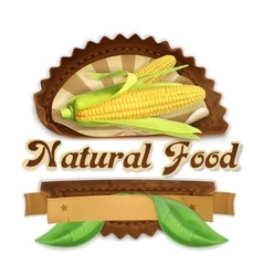 Ripe corn label design vector image