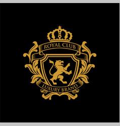 Royal luxury heraldic crest logo design vector