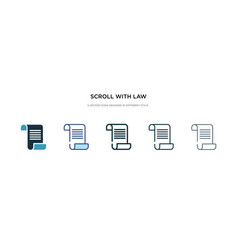 Scroll with law icon in different style two vector