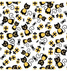 Seamless Pattern with Cat Spider and Gift Box vector