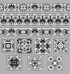 Set collections of old greek ornaments antique vector