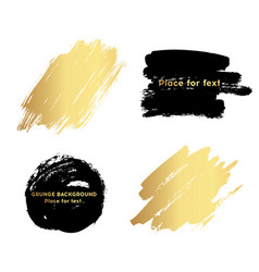 set of black and gold paint ink brush strokes vector image