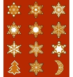 Set of Christmas gingerbread vector