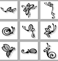 Set of insects icons vector