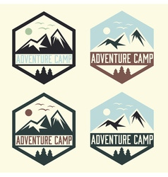 set of vintage labels adventure camp vector image