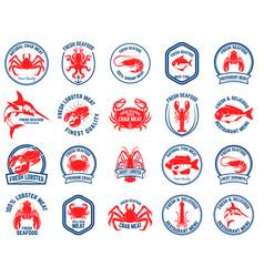 set seafood market emblems design element vector image