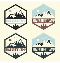 set vintage labels adventure camp vector image