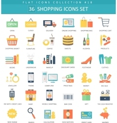 shopping color flat icon set Elegant style vector image