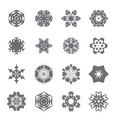 Simple snowflake icon collection isolated on white vector