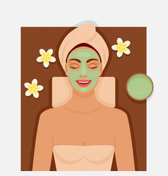Spa therapy girl with green facial mask vector