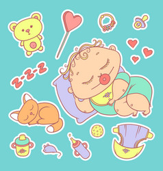 stickers sleeping child and kitten hygiene items vector image