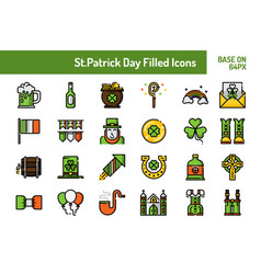 stpatricks day icon set outline filled icon base vector image