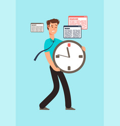 Stressed worker holding clock with running out vector