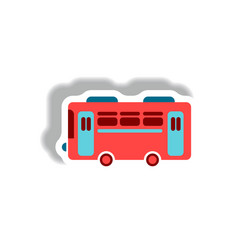 Stylish icon in paper sticker style retro bus vector