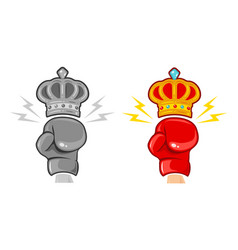 two gloves and crown for boxing vector image