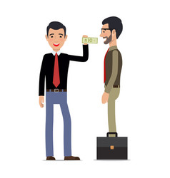 Two men make a tansaction on white background vector