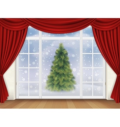 view pine tree out window with red curtains vector image