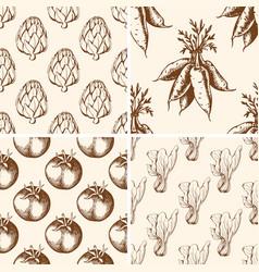 Vintage vegetable patterns vector