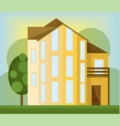 yellow house facade modern architecture vector image