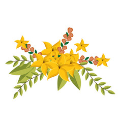 Yellow lily flowers crown floral design with vector