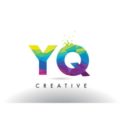 Yq y q colorful letter origami triangles design vector