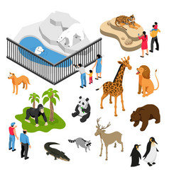 Zoo people isometric set vector