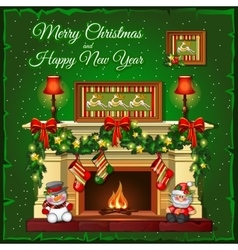 Burning Christmas fireplace on a green background vector image
