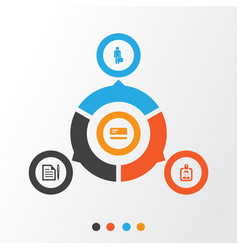 Business icons set collection of id badge work vector