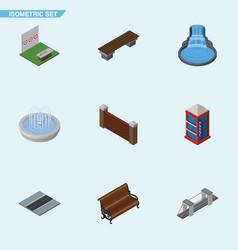 Isometric city set of garden decor aiming game vector