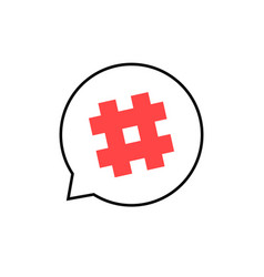 outline speech bubble with red hashtag vector image