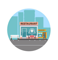 restaurant and bakery colorful front vector image