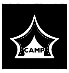 The emblem or logo of a black tent for camping on vector image