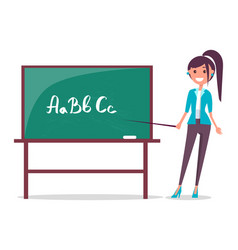young teacher and blackboard vector image