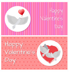 happy valentines day banners doves fly peacefully vector image vector image