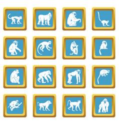 monkey types icons azure vector image vector image