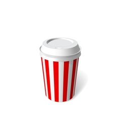 red paper cup blank template vector image
