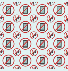 stop signs seamless pattern prohibitive stop vector image vector image