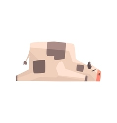 Toy Simple Geometric Farm Cow Laying Sleeping vector image
